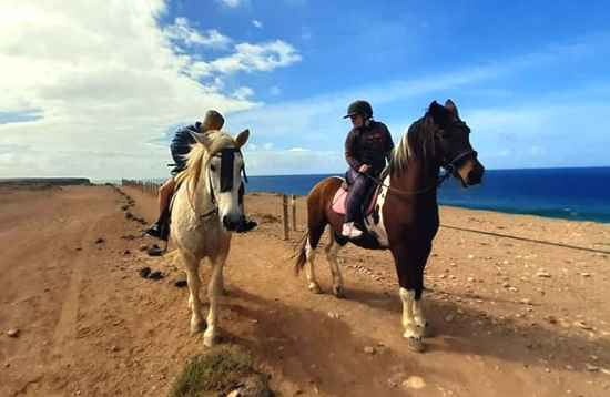 Ausritt mit Pferden am Meer in El Cotillo